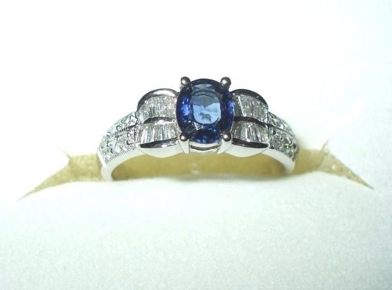 Genuine 1.11 ct Sapphire & Diamond Ring 18K white gold $2520 NWT