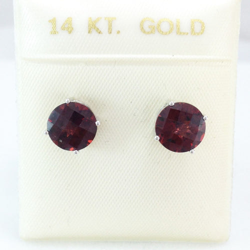 Genuine Garnet 4.9 cttw 8mm 14K white gold Earrings NWT $664