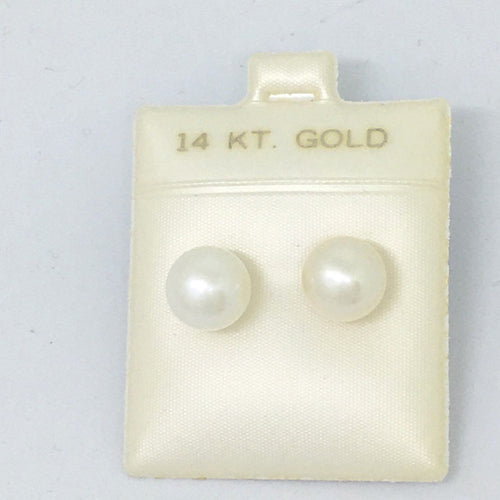 Cultured Pearl Stud Earrings 9.5 - 10 mm 14K yellow gold $380