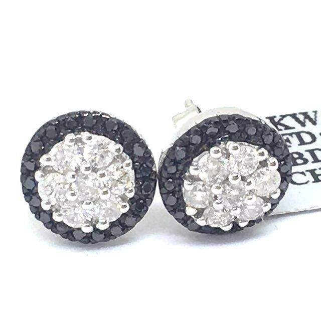 14K White Gold Genuine Black & White Diamond Stud Earrings NWT $1764