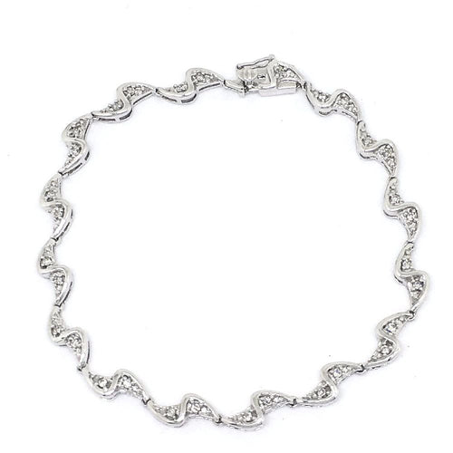 Genuine 14K White Gold and Diamond Bracelet 7 inches $1200 NWT