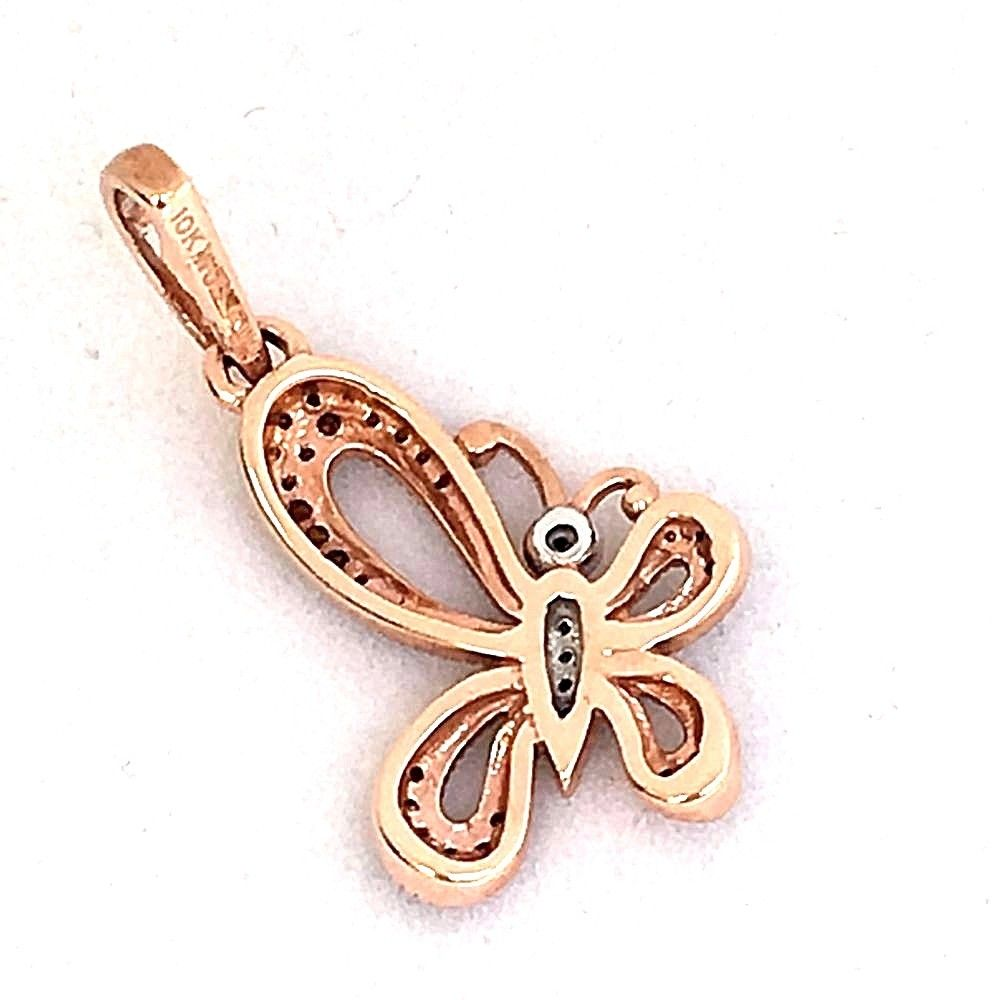 10k Rose Gold & White Gold Diamond Butterfly Pendant NWT $495