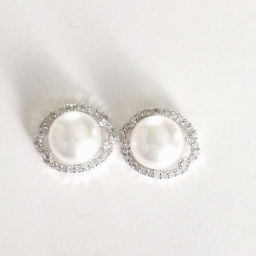 Genuine Freshwater Cultured Pearl & Diamond Post Earrings14K white gold $900
