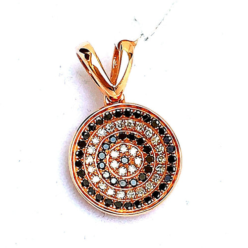 14k Rose Gold Pendant with Genuine Black & White Diamonds NWT $900