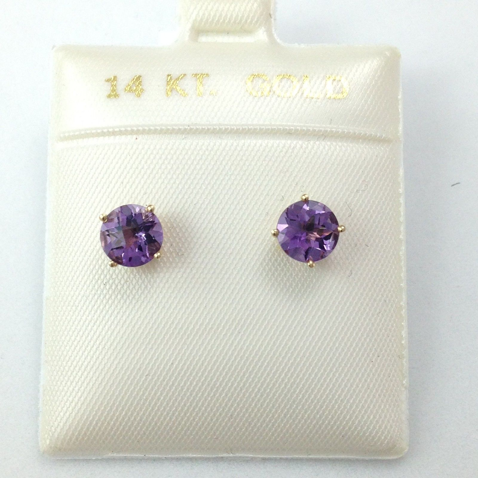 Genuine Amethyst Earrings 6mm 1.5 cttw 14K Yellow Gold NWT $390