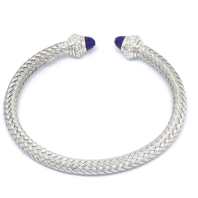 18K white gold plated silver bangle with genuine faceted lapis NWT $660