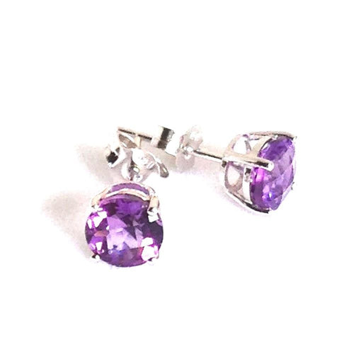 Genuine Amethyst Earrings 6mm 1.5 cttw 14K White Gold  NWT $390