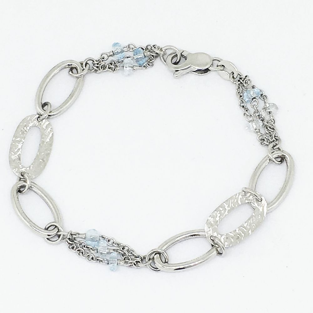 Genuine 14K White Gold & Aquamarine Bracelet 5.7 gr., 7 inches $630 NWT
