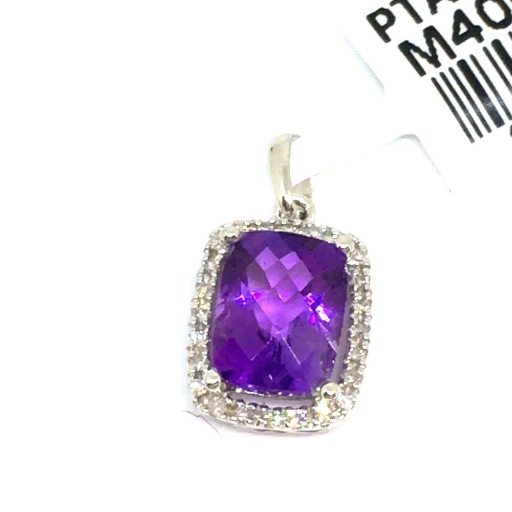 Genuine Amethyst and Diamond Pendant 14K white gold NWT $700