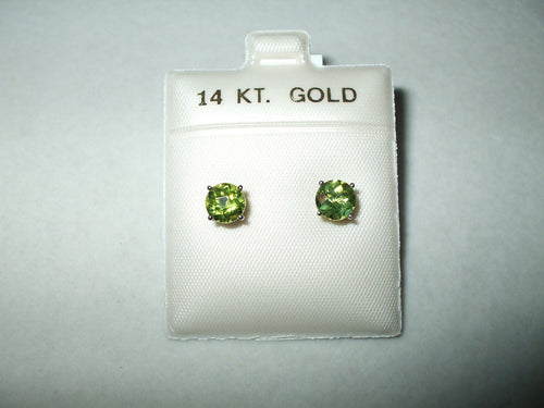 Genuine Peridot Earrings 1.9 cttw 6 mm 14K white gold $380