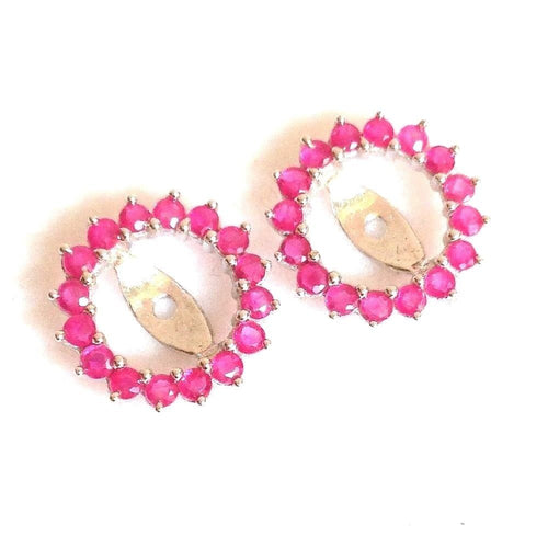 Genuine Ruby Earring Jackets 1.07 cttw 14K white gold NWT $400