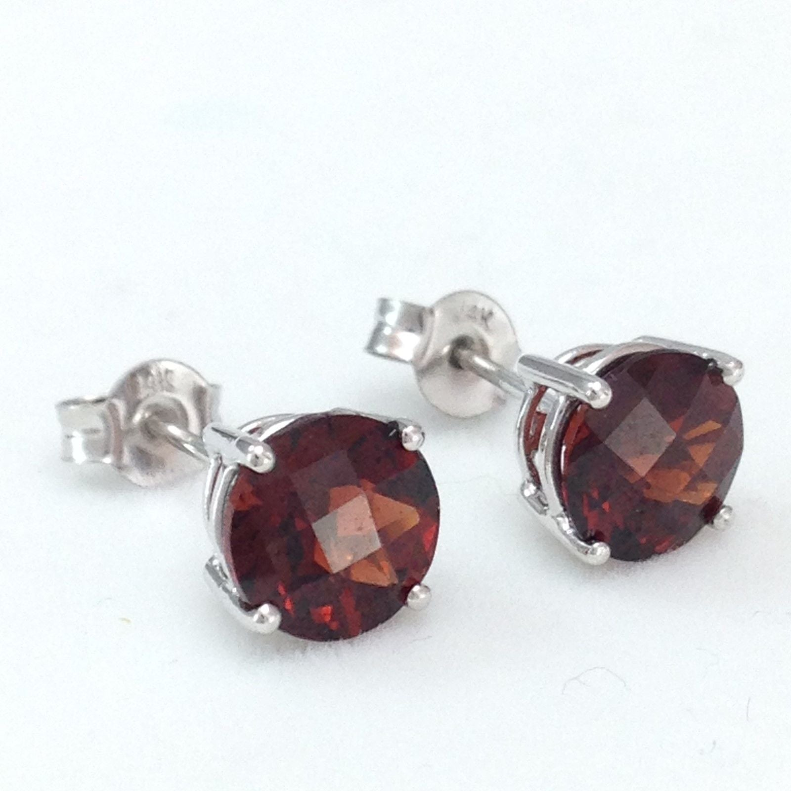 Genuine Garnet 3.1 cttw 7mm 14K white gold Earrings NWT $525