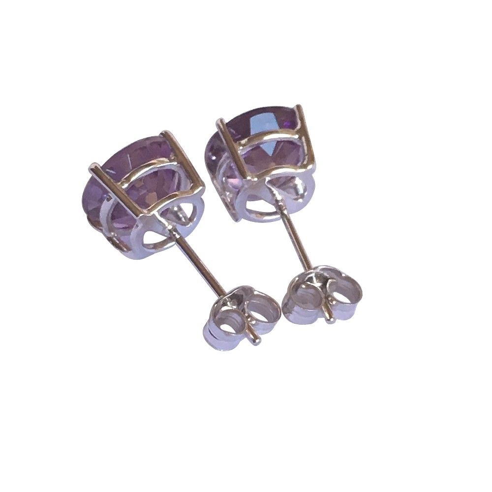 Genuine Amethyst Earrings 8mm, 3.3 cttw 14K 1.8 gr. White Gold NWT $550