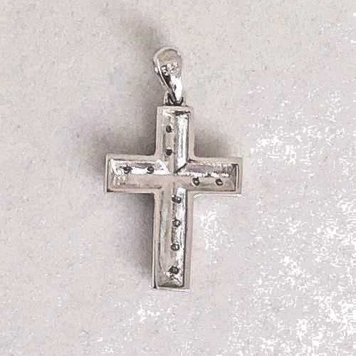14k White Gold & Genuine Diamond Cross Pendant NWT $430