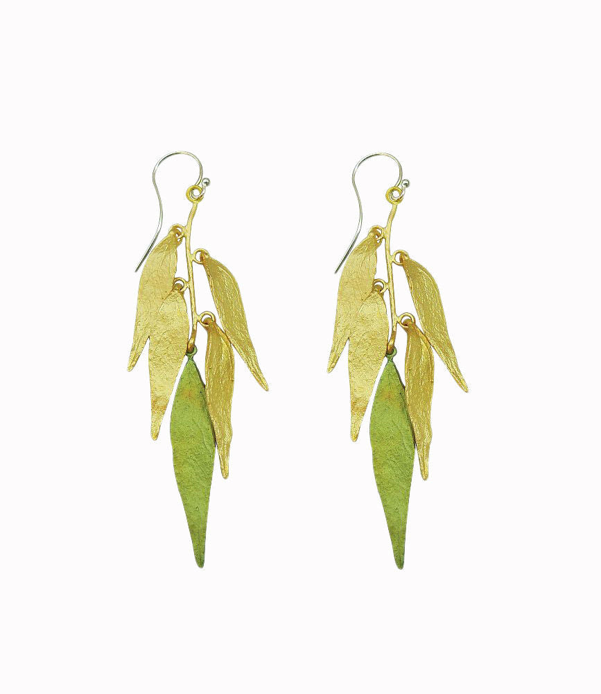 Michael Michaud Retired Weeping Willow 2 Tone Wire Earrings 3077 Retail $84