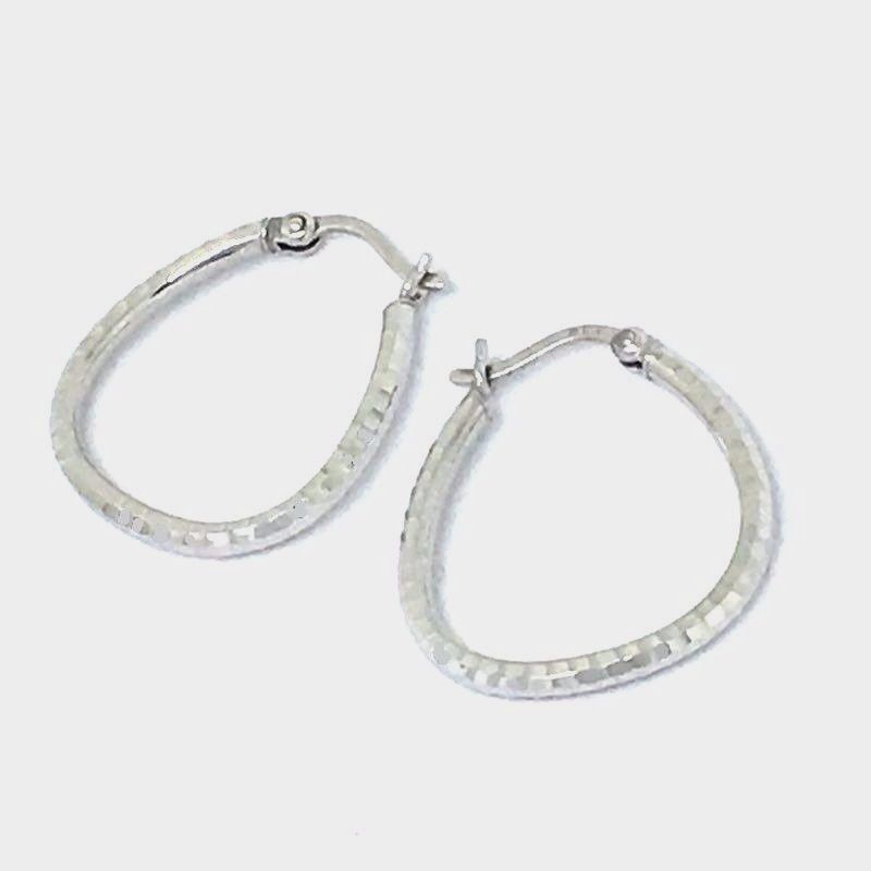 14K White Gold Diamond Cut Hoop Earrings 1.4 grams of gold, NWT $280