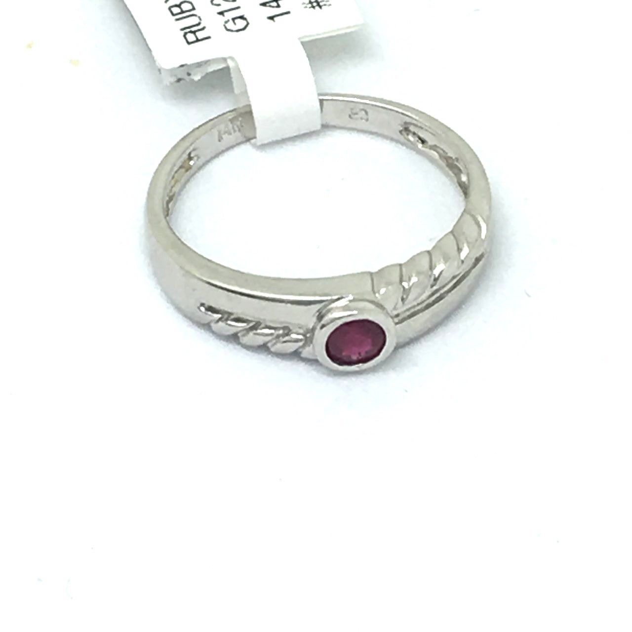 14K white gold and Genuine Ruby Ring $400 NWT Size 6 3/4