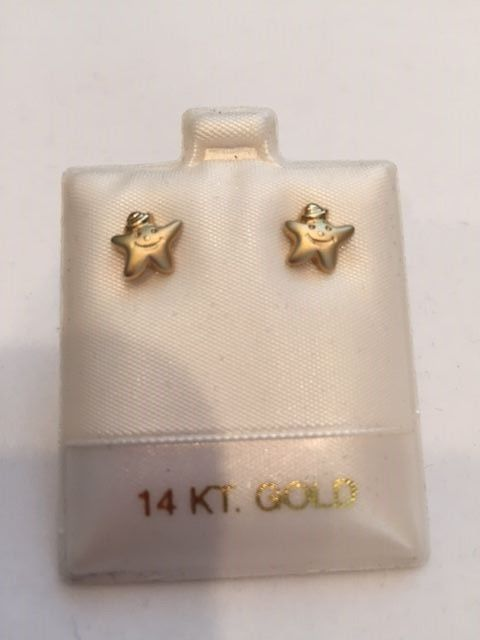 14K yellow gold Smiling Stars Children's earrings- retail $80