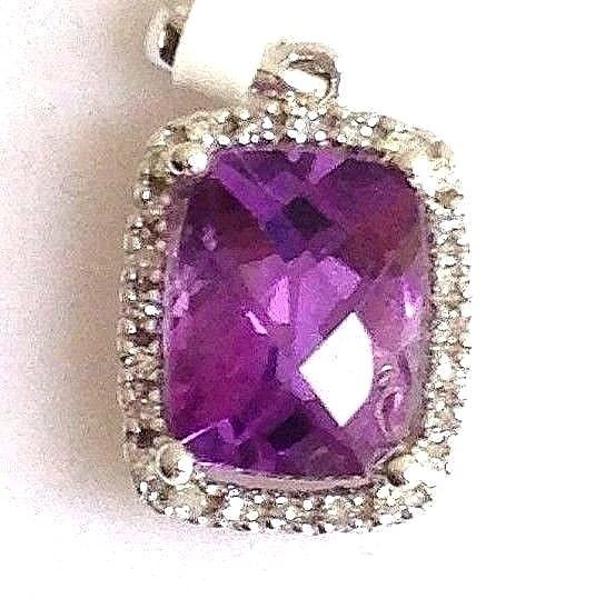 Genuine 6x8 mm Amethyst & Diamond Pendant 14K white gold NWT $700