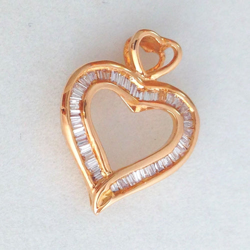 18k Rose Gold & Genuine Diamond Heart Pendant NWT $380