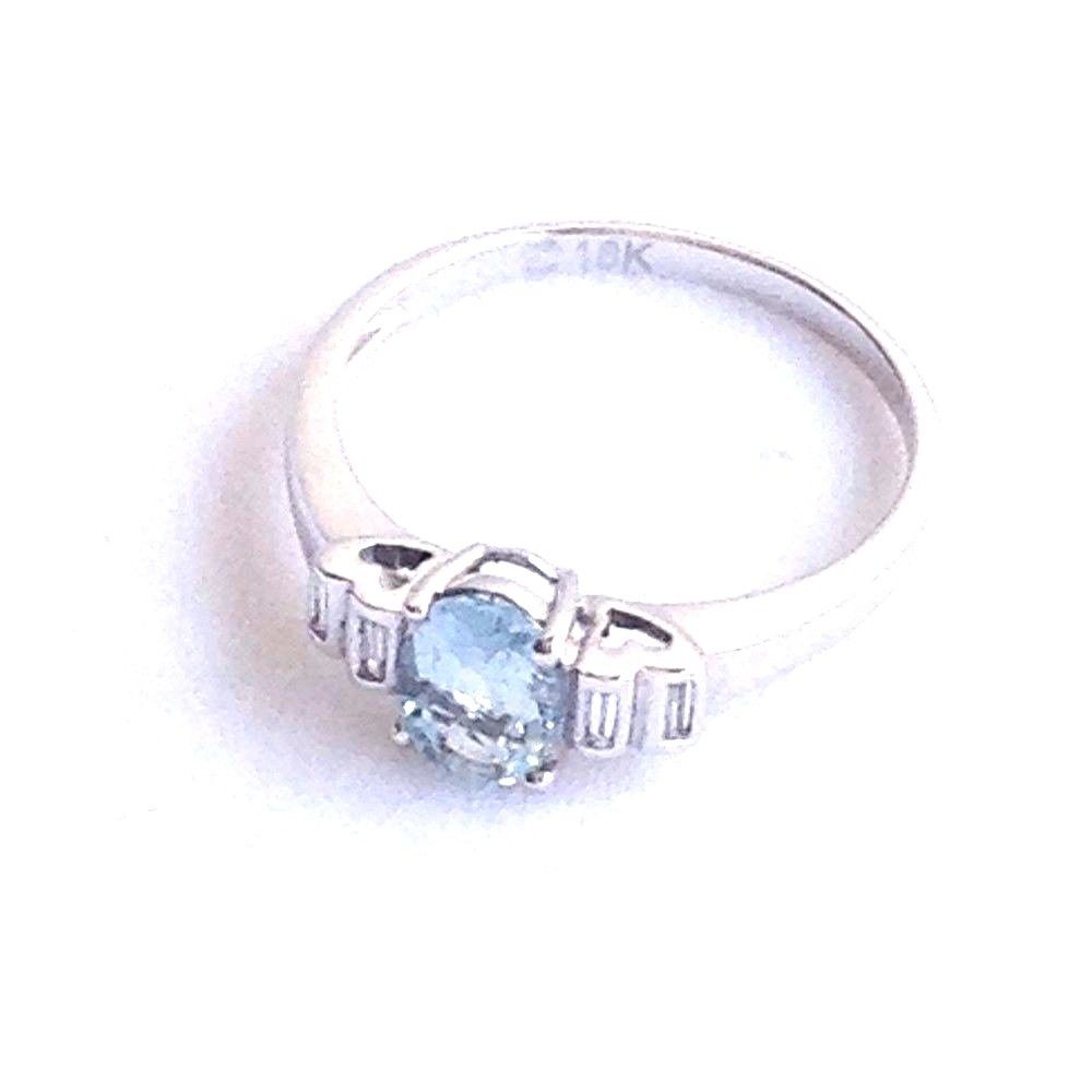 Genuine .61 ct Aquamarine Ring & Diamond 18K white gold $1080 NWT
