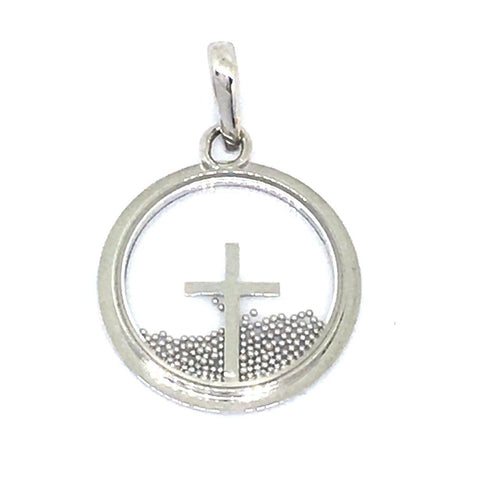 14k White Gold Cross in Glass Pendant NWT $540