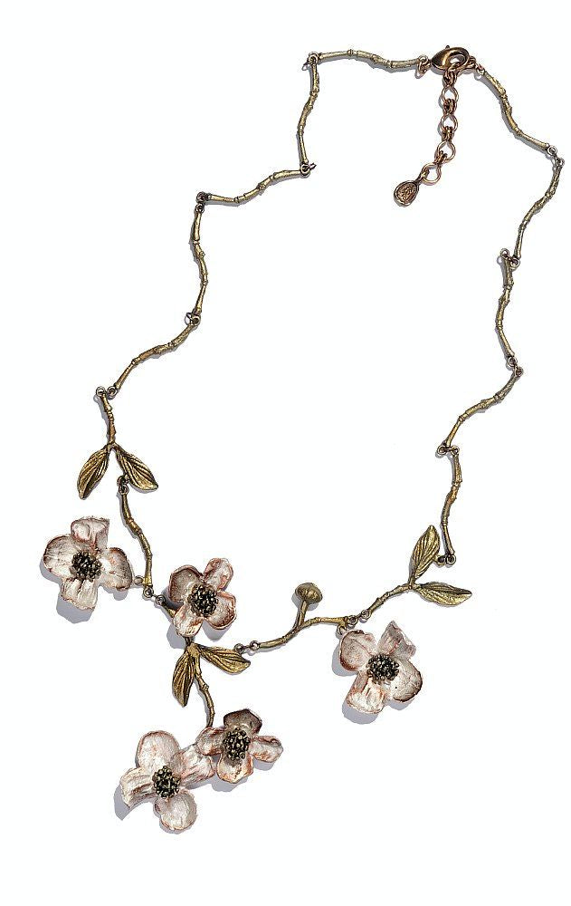 Michael Michaud Dogwood with Twig Chain Necklace 8104