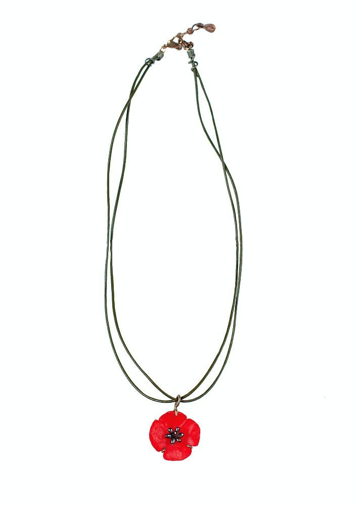 Michael Michaud for Silver Seasons Red Poppy Necklace 8833