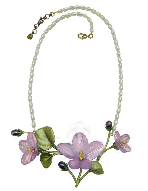 Michael Michaud African Violet with Pearl Chain Necklace 8926