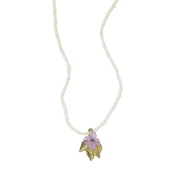 Michael Michaud for Silver Seasons Lilac & Pearl Chain Necklace 9105