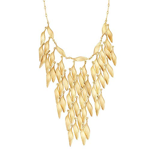 Michael Michaud for Silver Seasons Retired  Honey Locust Small Leaf Bib Necklace 9186 BZG Retail $388