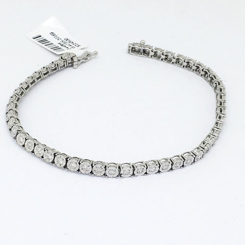 Genuine 1.0 cttw. Diamond & 10K white gold Tennis Bracelet 7 inches NWT $2245