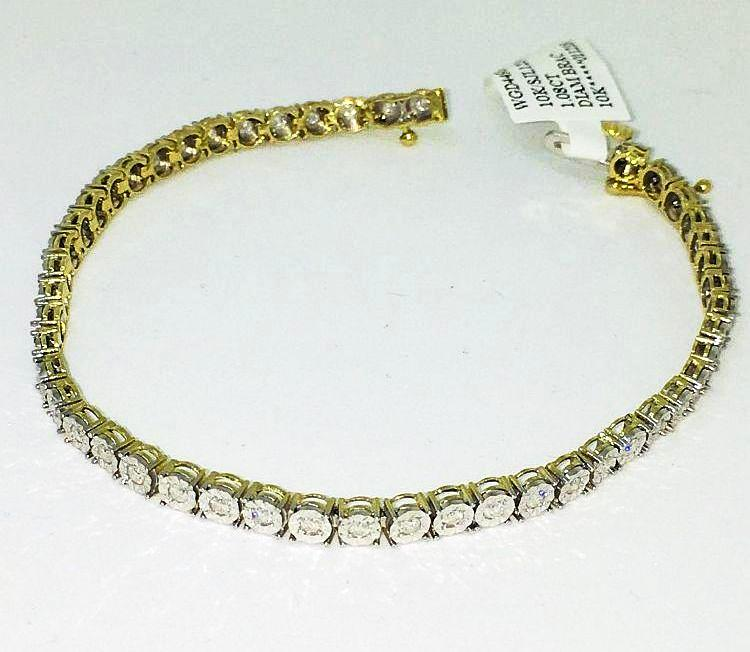 Genuine 1.0 cttw. Diamond & 10K yellow gold Tennis Bracelet 7 inches NWT $2245
