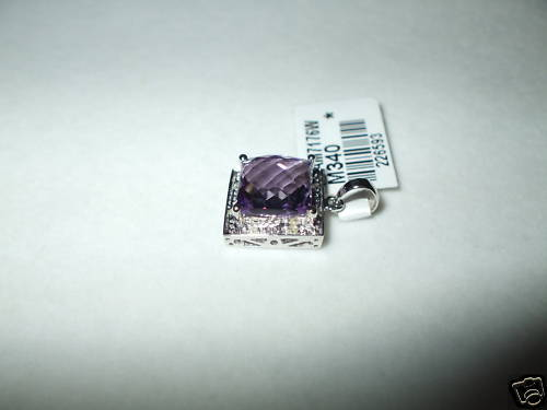 Genuine 9 mm Amethyst & Diamond Pendant 14K white gold NWT $800