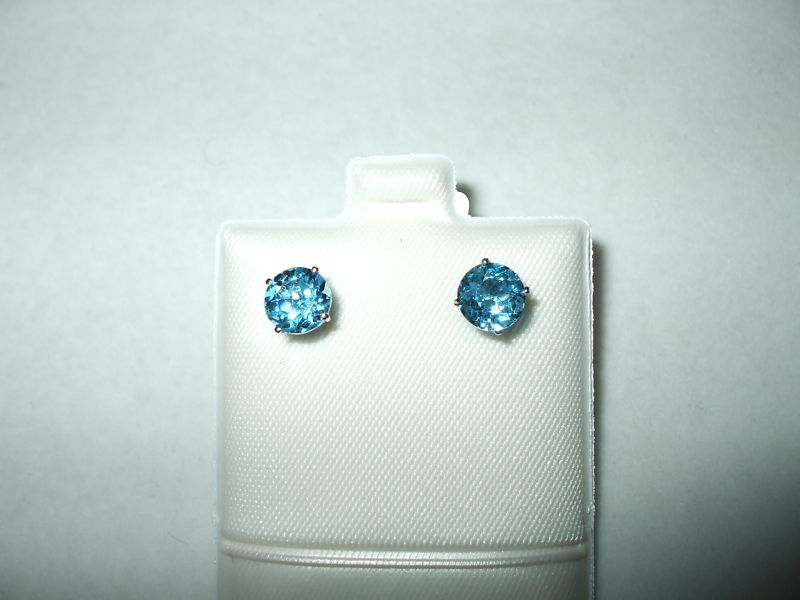 Round Blue Topaz Earrings 2 ct 6mm 14K white gold $340