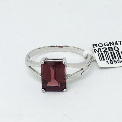 14K White Gold 7x9 mm Garnet Ring 2.2 gr. of gold $596 NWT Size 7 1/4