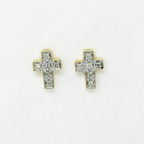 14K Yellow Gold & Genuine Diamond Cross Post Earrings 0.11 cttw NWT $700