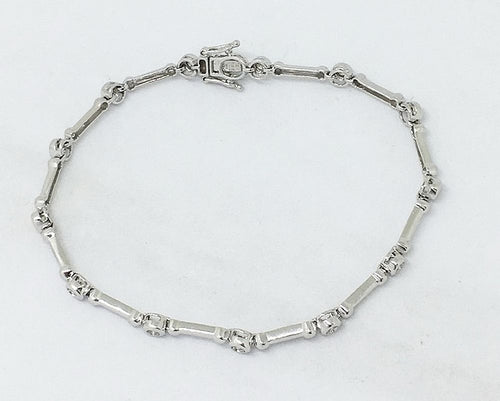 14K White Gold Genuine Diamond Bracelet 0.26 cttw 7 inches 6.4 gr NWT $1047