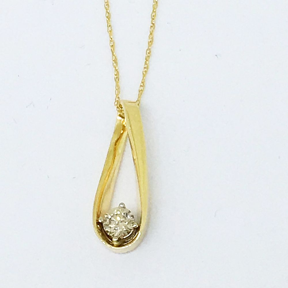 14K Yellow Gold Genuine .25 ct. Diamond Pendant with 18 in Chain NWT $1047
