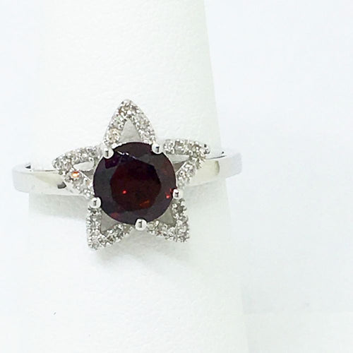Genuine 1.63 ct Garnet & Diamond Ring 14K White Gold $710 NWT