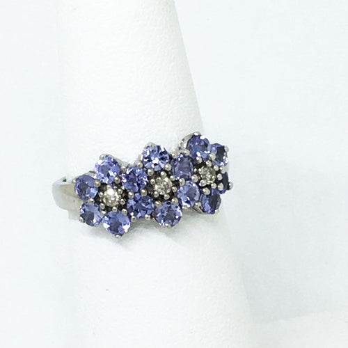 Genuine Tanzanite & Diamond Ring 14K White Gold $700 NWT