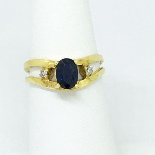 14K Yellow Gold & Genuine Sapphire & Diamond Ring $2200 NWT