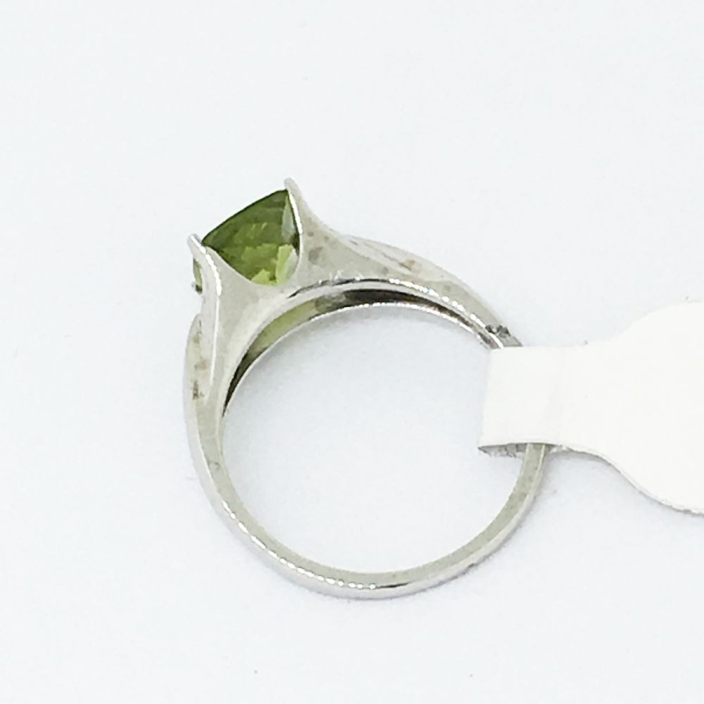 Genuine 2.2 ct Peridot Ring 14K White Gold $980 NWT