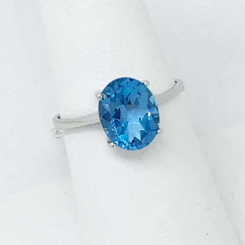 Genuine 3.34 ct. Oval Blue Topaz Ring 14K White Gold $400 NWT