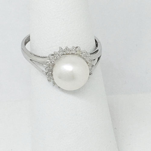 Genuine Freshwater Pearl & Diamond Ring 14K White Gold $640 NWT