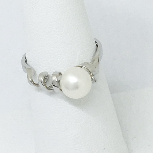 Genuine Cultured Pearl & Diamond Ring 14K White Gold $650 NWT
