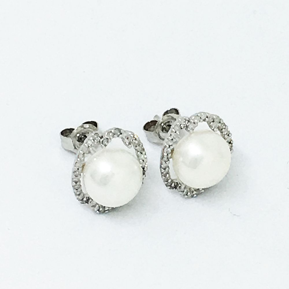 Freshwater Cultured Pearl & Diamond Earrings 14K White Gold NWT $900