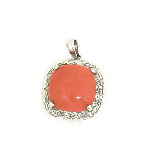 14K White Gold & Genuine Pink Coral & Diamond Pendant NWT $590