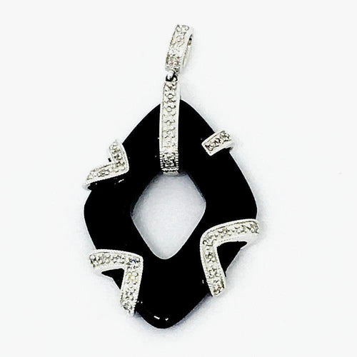 14K White Gold & Genuine Onyx & Diamond Pendant NWT $590