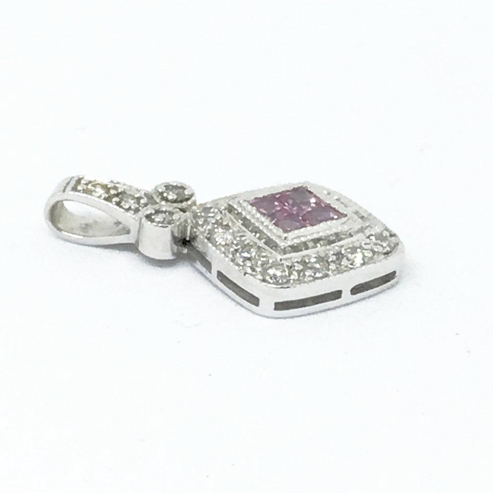 14K White Gold Genuine Pink Sapphire & Diamond Pendant NWT $650